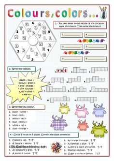 COLOURS: Varied exercises for weak learners. ESL worksheet of the day on September 6, 2015 by rmartinandres