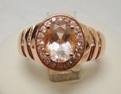 ROSE GOLD OVER 925 STERLING SILVER PEACH MORGANITE WHITE ZIRCON RING SIZE 6.5 #SolitairewithAccents