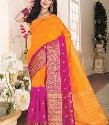 Buy gold woven raw_silk saree With Blouse silk-saree online