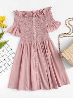 cuteshopp.com Off-Shoulder Ruffle Trim Pleated Dress [rdre180528081] - Color:PinkStyle:CasualMaterial:97% Polyester, 3% SpandexNeckline:Off the ShoulderSleeve Length:Short SleeveSilhouette:Fit and FlareDresses Length:ShortDecoration:Ruffle, Frill, PleatedPattern Type:PlainFabric:Fabric has no stretchSeason:SummerType:A LineWaist Line:NaturalSleeve Type:Flounce SleeveClothing Type:AOccasion:Weekend CasualHem Shaped:Trapeze