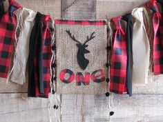 Deer High Chair Banner Lumberjack First Birthday Woodland Highchair Garland Red Black Buffalo Plaid Wild One Photo Prop Garland Hunting Camp Black Deer, Red Black, Hunting Birthday, Birthday Highchair, Lumberjack Party, First Birthday Photos, High Chair Banner, Fabric Strips, Wild Ones