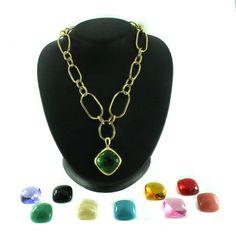 "qvc Joan Rivers LTD Goldtone Chic Links 10 Color Changeable 17"" Necklace C005 #JoanRivers #Pendant"