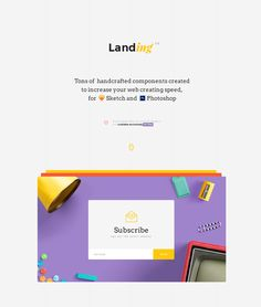 Landing free UI kit. Tons of handcrafted UI components created to increase your web creating speed, for Sketch and Photoshop. Free UI kit