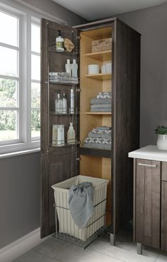 Home Remodel Ideas Smart storage goes a long way when it comes to keeping a small bathroom organized.Home Remodel Ideas Smart storage goes a long way when it comes to keeping a small bathroom organized. Small Bathroom Organization, Bathroom Design Small, Modern Bathroom, Bathroom Mirrors, Storage Organization, Organized Bathroom, Bathroom Storage Cabinets, Small Bathroom Makeovers, Bathroom Linen Tower