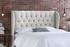One Kings Lane - Changing Spaces - Parker Tufted Wingback Headboard, Talc