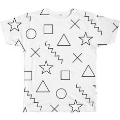 Shapes Tee ($40) ❤ liked on Polyvore featuring tops, t-shirts, shirts, star print shirt, t shirts, print top, star print t shirt and pattern shirt