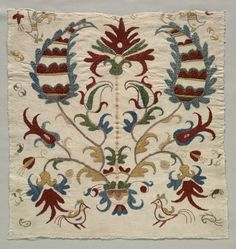 Fragment of Pillow Cover  or Panel of Bedspread,1800s Greece,Sporades Islands,Skyros,19th century embroidery :silk on linen tabby ground
