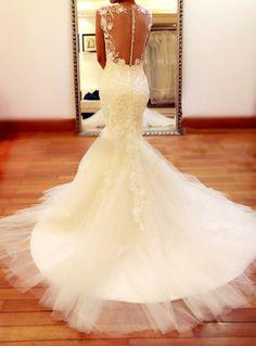 Custom Mermaid Keyhole Lace Wedding Dress