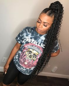85 Box Braids Hairstyles for Black Women - Hairstyles Trends Goddess Braid Ponytail, Feed In Braids Ponytail, Feed In Braids Hairstyles, Black Girl Braided Hairstyles, Braided Ponytail Hairstyles, Braids With Curls, Black Girl Braids, Braids For Black Hair, My Hairstyle