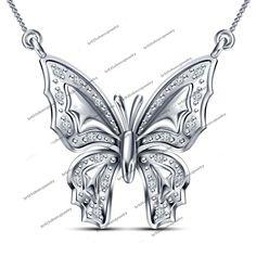 "925 Silver Round Cut Sim Diamond Flying Beautiful Butterfly Pendant W/ 18""Chain #br925 #ButterflyPendant"