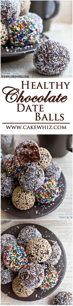 FUDGY CHOCOLATE DATE BALLS covered in sprinkles, toasted sesame seeds and shredded coconut. These bite-sized energy balls are healthy, vegan and gluten free! From cakewhiz.com
