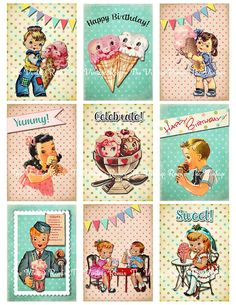 Digital Collage Sheet Retro Vintage Birthday by TheVintageRemix, $3.75