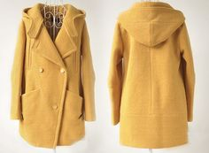 Warm Yellow Fall Winter Hooded Cashmere coat Wool Coat -- wool coat!! with hood!!!!!