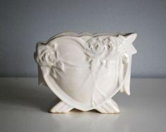 McCoy Heart Planter 1940s Art Pottery Vase Fine by CalloohCallay