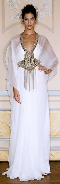 Top Quality Zuhair Murad Evening Dress Arabic Caftan Plunge V Neck White Evening Gown Muslim Clothing For Women Abaya In Dubai
