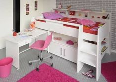 The Parisot Swan Cabin Bed is constructed from high quality particleboard and has matt white color finish. This cabin bed includes the Mid Sleeper bed frame, a free-standing pull-out desk, and built-in shelving areas with a cupboard. Cool Bunk Beds, Kid Beds, Low Loft Beds, High Sleeper Bed, Bed Shelves, Shelf, Bed With Drawers, Childrens Beds, Built In Bookcase