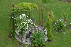 The hanging garden pergola changes along with seasons