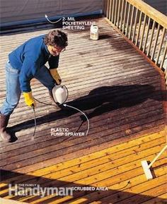 Make your weathered old deck look like new. We'll show you the whole refinishing process, with expert tips on how to handle tough spots and complete the job faster. Deck Building Plans, Deck Plans, Deck Refinishing, Staining A Deck, Deck Maintenance, Deck Cleaning, Cleaning Wood, Garage Atelier, Deck Repair