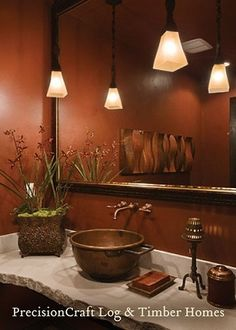 Love the sink & countertop!  Pendant Lighting