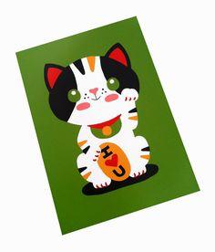 Maneki Neko Drawing | Maneki Neko Japanese Lucky Cat Art Print 5 x 7 by emandsprout