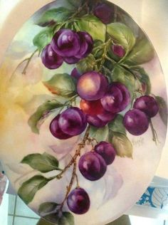 Fruit Painting, China Painting, Watercolor Flowers, Watercolor Paintings, Plum Paint, Art Painting Gallery, Hand Painted Ceramics, Painted Porcelain, Fruit Art