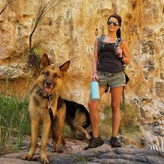 Canyon hike with our strap.  Share from our brand ambassador @macthewife801 ・・・ Pig pigs. 😍 hiking to Cibeque falls. Got my @earthwell and my @superessestraps and a few other toys for emergencies. 😒😂 #canyoneering #arizona #outdoors #azoutdoors #hiking #gsd #germanshepherd