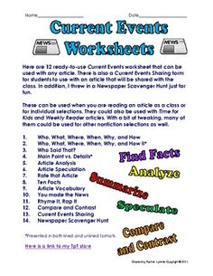 Here are 14 Ready to Use Current Events Activities. There are 12 Current Events worksheet and graphic organizers that can be used with any article. 6th Grade Social Studies, Social Studies Classroom, Teaching Social Studies, Teaching History, Current Events Worksheet, Current Events News, 6th Grade Reading, School Worksheets, Graphic Organizers