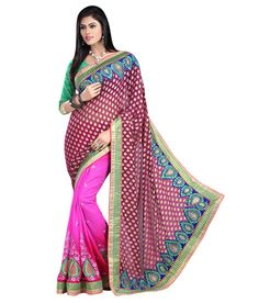 Red Jacquard And Georgette Embroidered Designer Saree Sarees on Shimply.com
