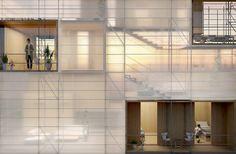 Based in Barcelona, Mesura is active in architecture, interior and spatial design. Facade Design, House Design, Building Skin, Theatre Design, Facade Architecture, Interior And Exterior, Construction, Inspiration, Home
