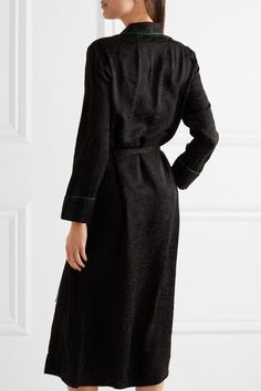 Raquel Allegra - Silk-damask Wrap Dress - Black - 2