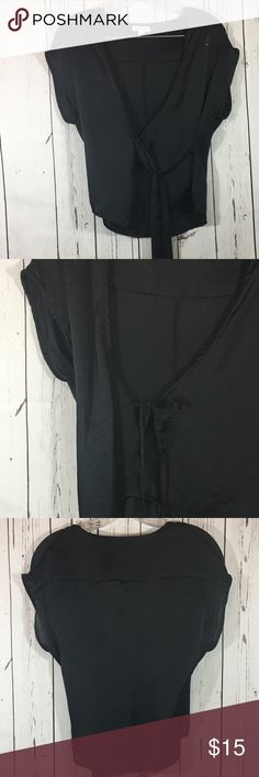 """silence + noise Sheer Black Wrap Top sz Medium Silence + Noise Sheer Black Wrap Top sz Medium. Silky Black Party Top. Ties on inside and also on the outside as shown. 22"""" long. Very Good Preowned. No snags or flaws noted. Non smoking home. silence + noise Tops"""