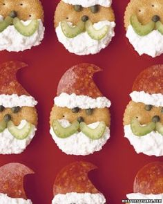Santa Crackers Christmas Appetizer {I'd use flavored cream cheese and sub something for the capers as well, maybe pipe tinted cream cheese for eyes and nose, make the nose red}