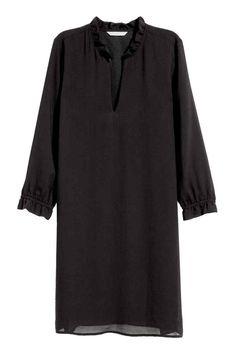 Vestido con cuello de pico - Negro - MUJER   H&M ES