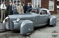 steampunkvehicles:  se-dax:  What's THIS One??  1948 TASCO prototype, designed with aircraft in mind. First car with a T-bar roof. Designed for rich guys to race in, but never went into production. This car is still around, in the Duesenburg museum in Auburn Indiana USA http://oldconceptcars.com/exotic/tasco-prototype-gordon-buehrig-1948-part-plane-part-car/