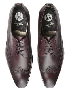 Montague Burton Premium Burgundy Leather Brogues* - Burton