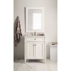 James Martin Furniture New Brittany 30-inch Arctic Fall Top Cottage Single Vanity