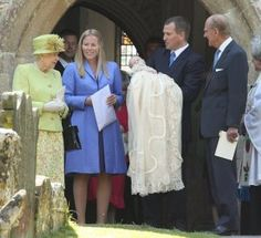 Since 1841 most members of the Royal family have has worn the same ancient christening gown made for Queen Victoria's eldest daughter, Victoria. The gown is believed to have been made from the same silk and Honiton lace as Queen Victoria's wedding gown. Here the Queen's first great-grandchild -- Savannah Phillips --wears it as she is christened.