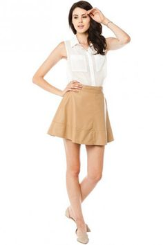 #ShopSosie                #Skirt                    #Lowe #Skirt #Beige #ShopSosie.com                  Lowe Skirt in Beige - ShopSosie.com                                           http://www.seapai.com/product.aspx?PID=863842