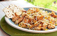 Insalata di pollo con mais e germogli di soia-ricetta sfiziosa