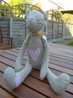 Tilda cat- adorable stuffed cat designed and made in the UK By Francesca B at countrykittyland