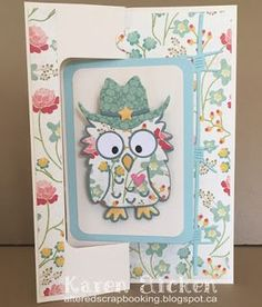 Karen Aicken using the Pop it Ups Rectangle Pull Card, Poppy the Owl, Props 6 and Western Edges die sets by Karen Burniston for Elizabeth Craft Designs. - Western Poppy Birthday Card
