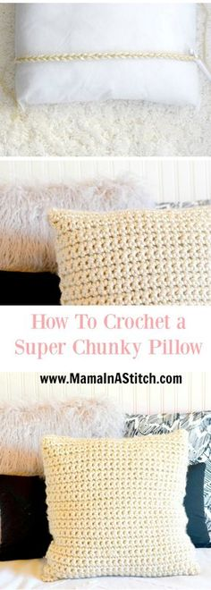 Super Chunky Crochet Pillow Project via @MamaInAStitch