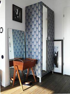 DIY Wallpapered IKEA wardrobe