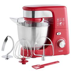 VonShef Stand Mixer with 5 Speeds includes Beater Balloon Whisk Dough Hook Spatula Red ** More info could be found at the image url. (This is an affiliate link) Stand Mixer Recipes, Best Stand Mixer, Food Mixers & Blenders, Best Blenders, Electric Foods, Electric Mixer, Kitchen Robot, Kitchen Stand Mixers, Hand Held Blender
