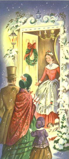 Vintage Christmas Card, Unused, Warm Holiday Gathering
