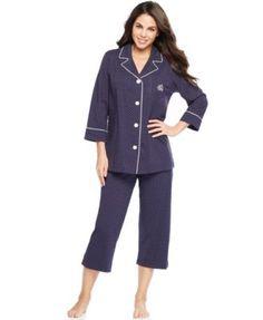 Lauren Ralph Lauren 3/4 Sleeve Classic Notch Collar Top and Capri Pajama Pants