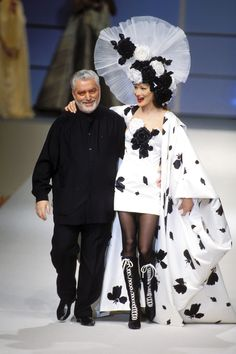 VP: Looks like she's wearing a cow outfit, but they're bows. / 1994 *Paco Rabanne*   - HarpersBAZAAR.com