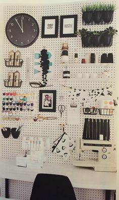 Pegboard organization for office or craft space