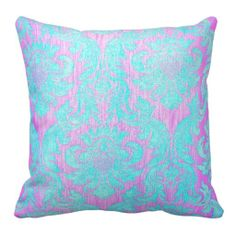 Vintage worn chic hipster damask pink light blue pillows