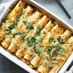 Chicken & Veggie Enchiladas These chicken enchiladas are great for using up any veggies you have lingering in your fridge. Our chicken enchilada recipe calls for zucchini, squash and onion, but you could easily swap in spinach, onions or potatoes. Veggie Enchiladas, Sandwiches, Cooking Recipes, Healthy Recipes, Chicken Recipes Cooking Light, Meal Recipes, Cooking Tools, Healthy Foods, Recipies